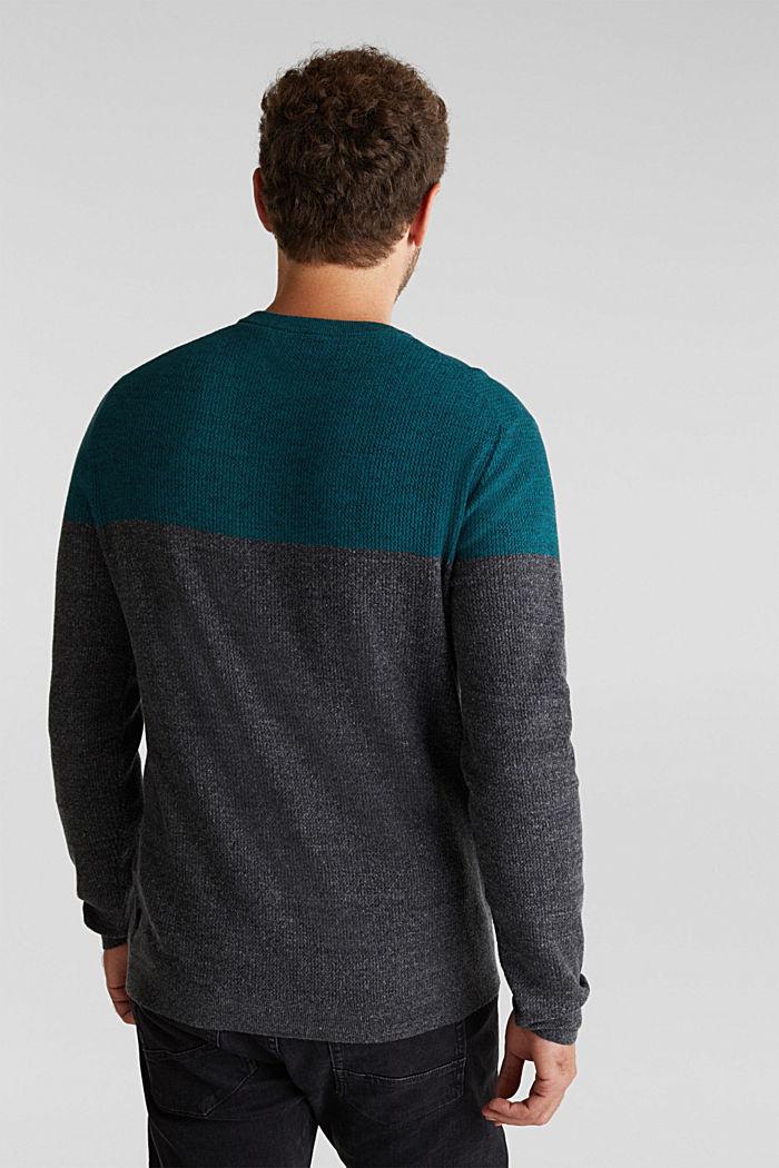 Colour block jumper, organic cotton, BOTTLE GREEN, detail image number 3