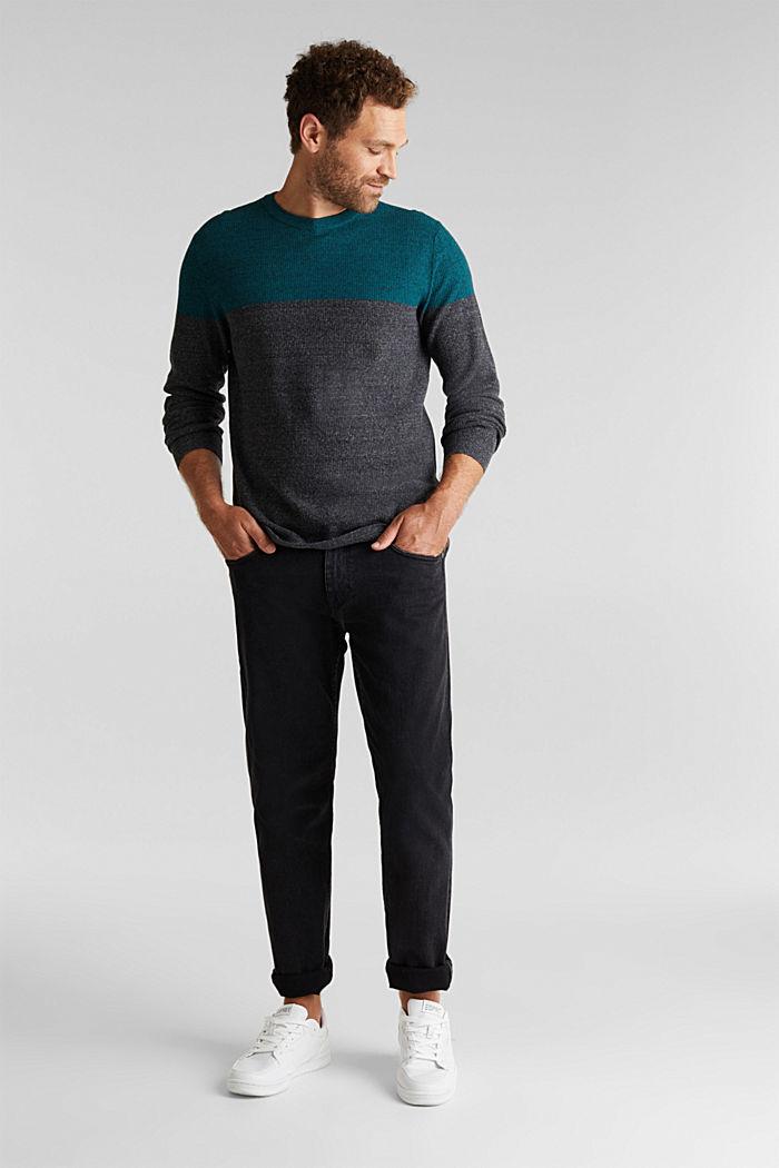 Colour block jumper, organic cotton, BOTTLE GREEN, detail image number 1