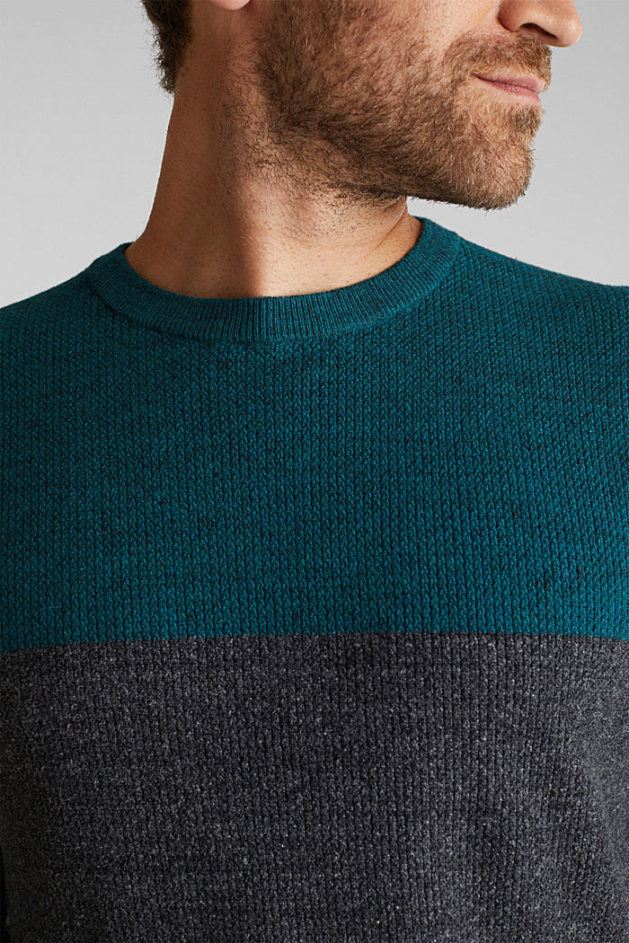 Colour block jumper, organic cotton, BOTTLE GREEN, detail image number 2