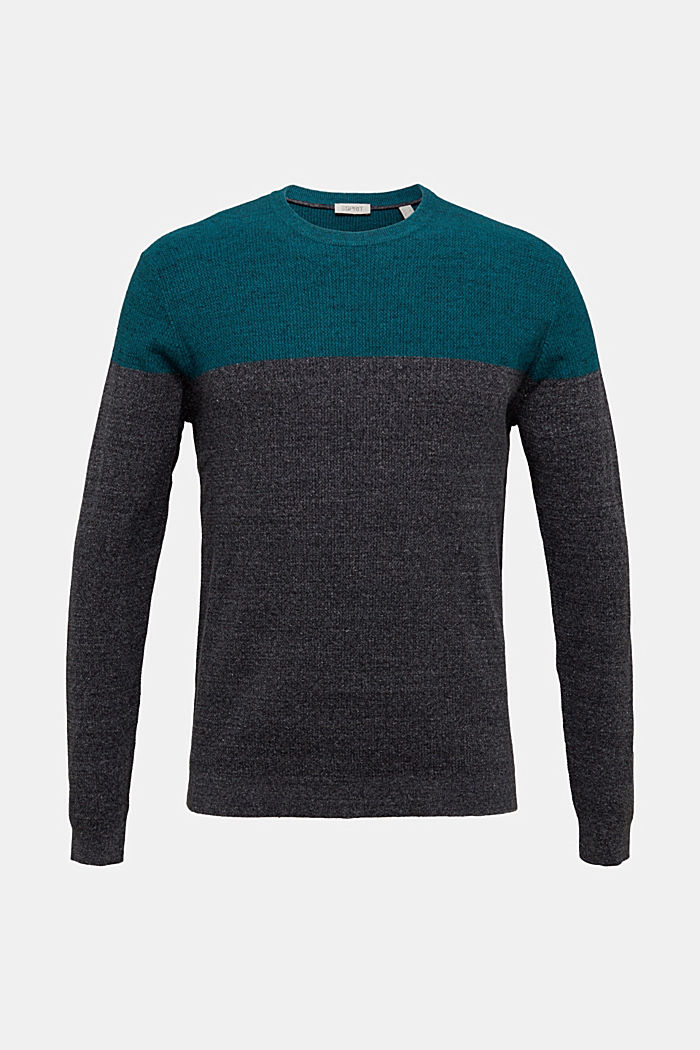Colour block jumper, organic cotton, BOTTLE GREEN, detail image number 6