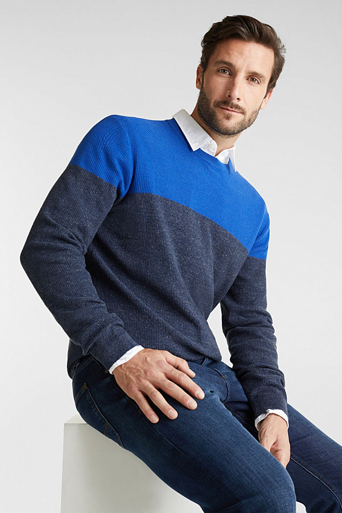Colour block jumper, organic cotton, BRIGHT BLUE, detail image number 0