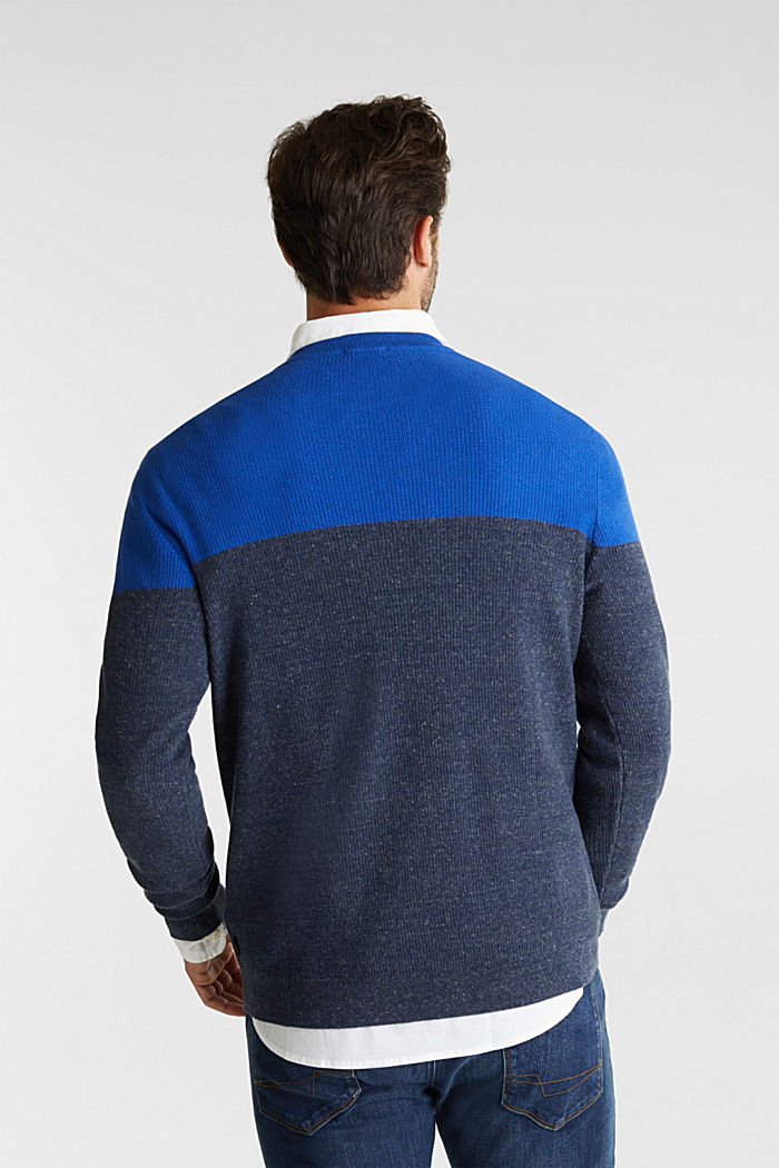 Colour block jumper, organic cotton, BRIGHT BLUE, detail image number 3