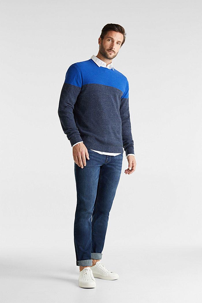 Colour block jumper, organic cotton, BRIGHT BLUE, detail image number 1