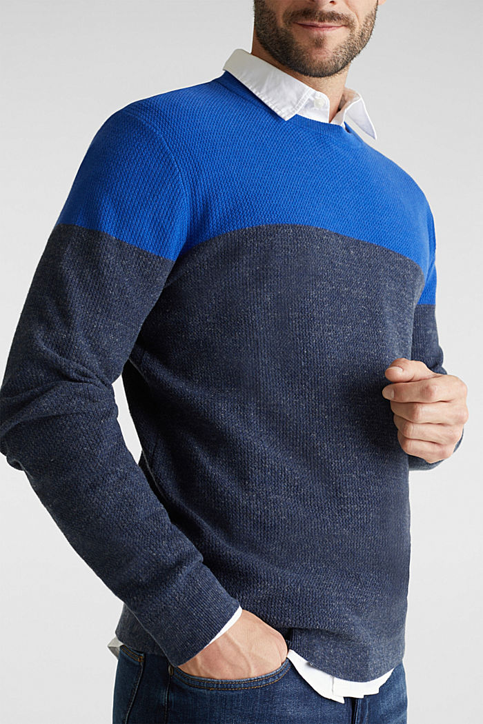 Colour block jumper, organic cotton, BRIGHT BLUE, detail image number 2