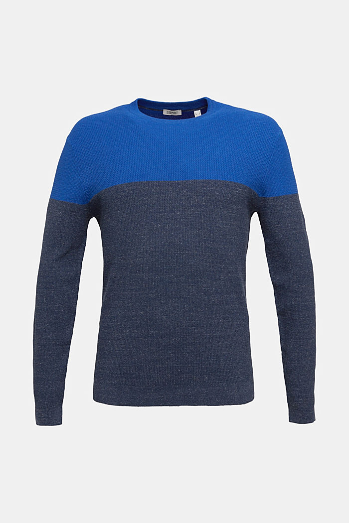 Colour block jumper, organic cotton, BRIGHT BLUE, detail image number 5