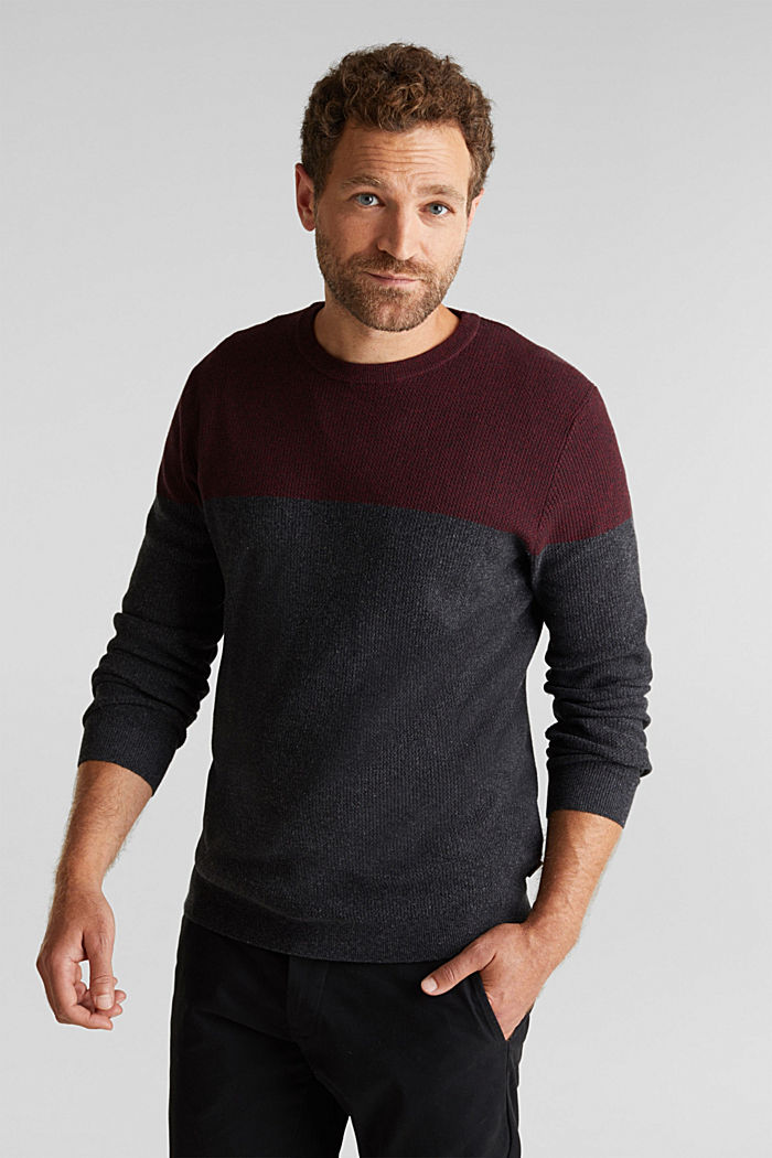 Colour block jumper, organic cotton, DARK RED, detail image number 0