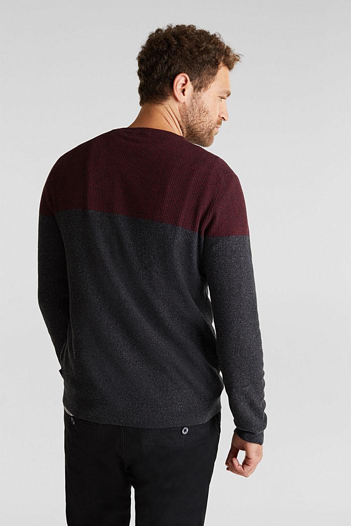 Colour block jumper, organic cotton, DARK RED, detail image number 3