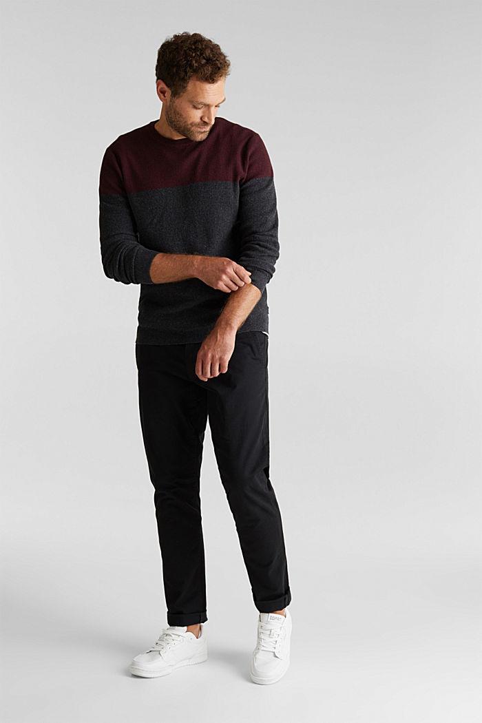 Colour block jumper, organic cotton, DARK RED, detail image number 1