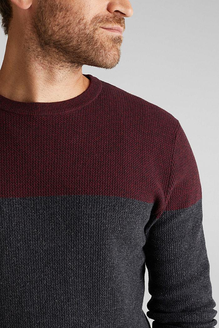 Colour block jumper, organic cotton, DARK RED, detail image number 2