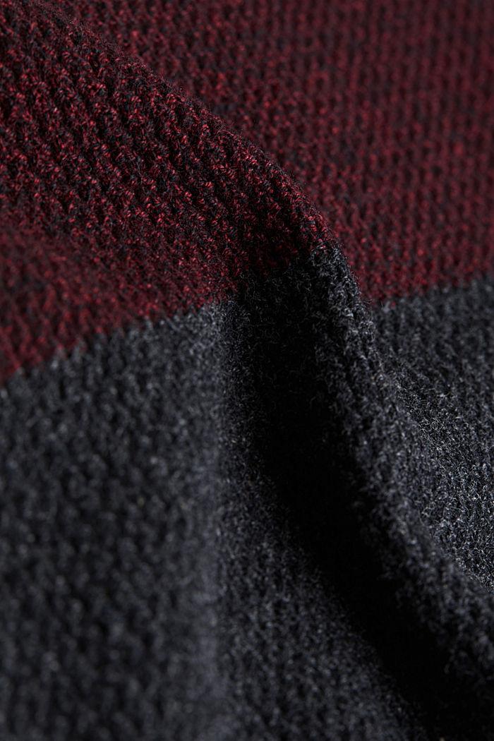 Colour block jumper, organic cotton, DARK RED, detail image number 4