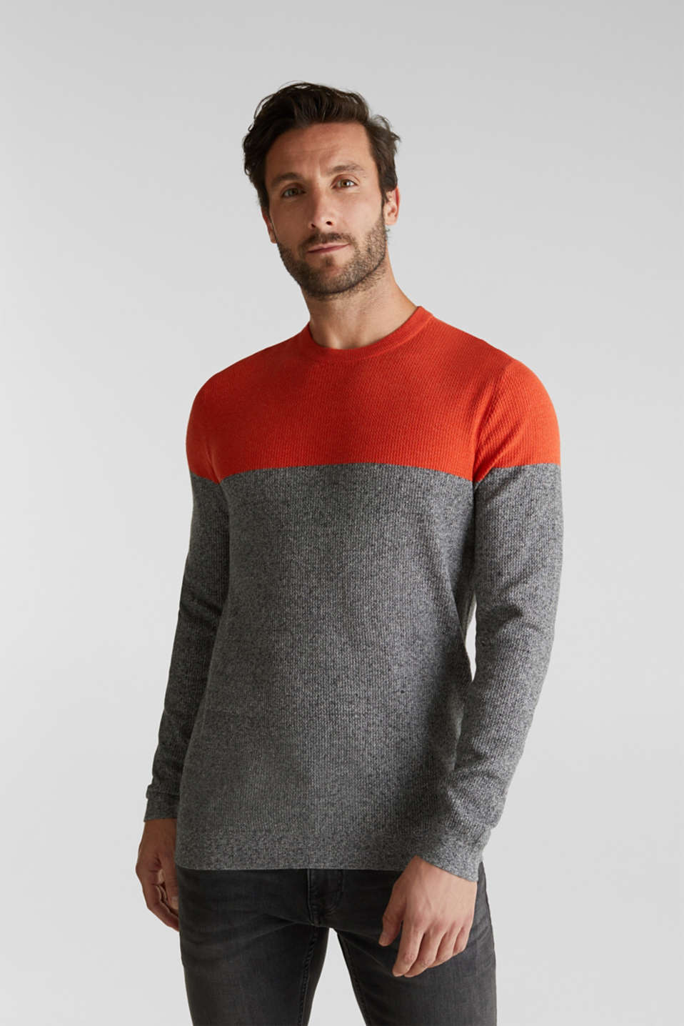 Esprit - Colour block jumper, organic cotton