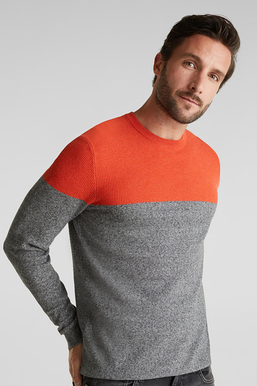 Pull-over d´aspect colour blocking, coton biologique