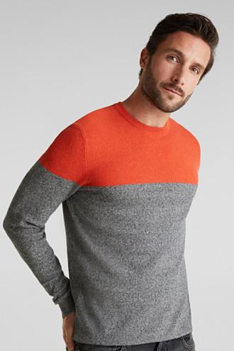 Colour block jumper, organic cotton