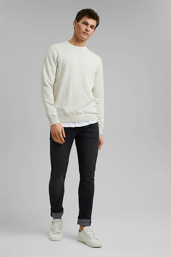 Pullover aus 100% Pima Organic Cotton, OFF WHITE, detail image number 1
