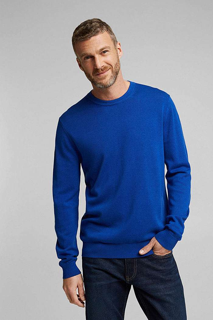Jumper made of 100% organic pima cotton, BRIGHT BLUE, detail image number 0