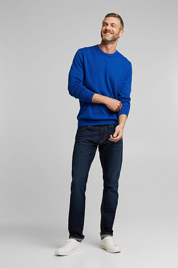 Jumper made of 100% organic pima cotton, BRIGHT BLUE, detail image number 1