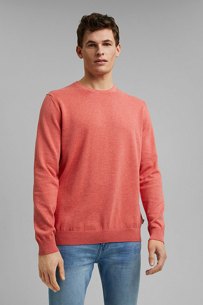 Pullover aus 100% Pima Organic Cotton, CORAL, detail image number 0