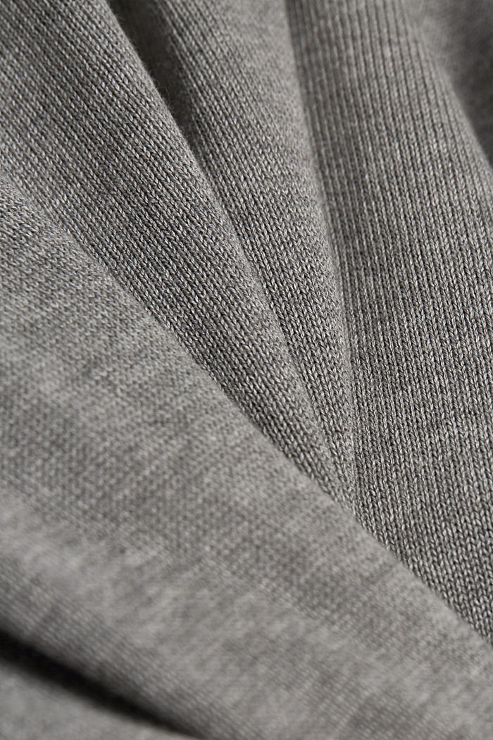 Hooded cardigan made of 100% organic cotton, MEDIUM GREY, detail image number 4