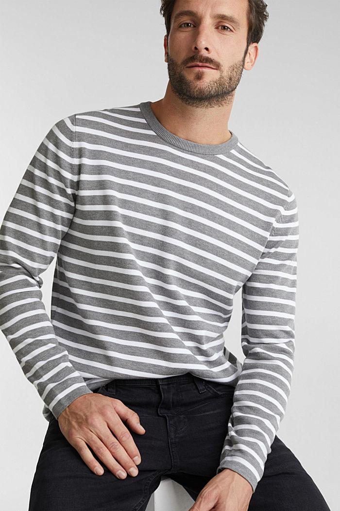 Striped jumper made of 100% organic cotton, MEDIUM GREY, detail image number 0