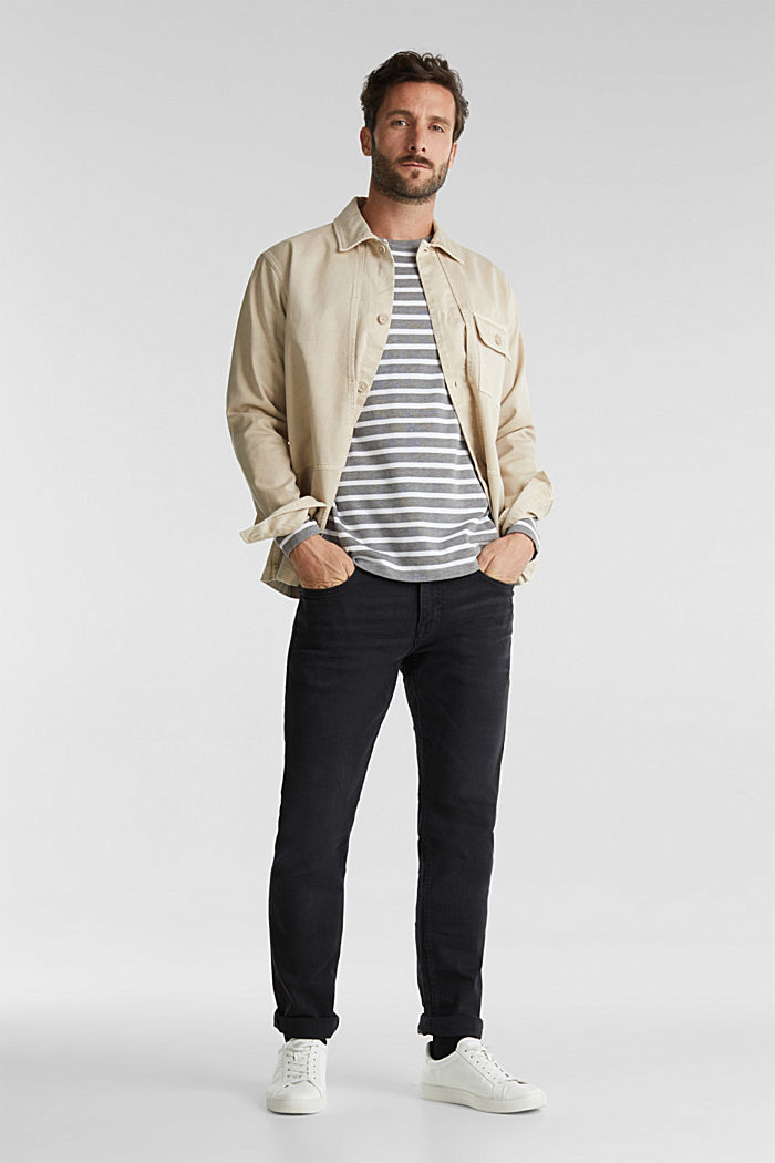 Striped jumper made of 100% organic cotton, MEDIUM GREY, detail image number 1