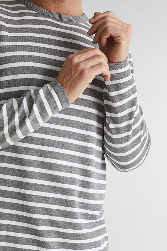 Striped jumper made of 100% organic cotton, MEDIUM GREY, detail image number 2