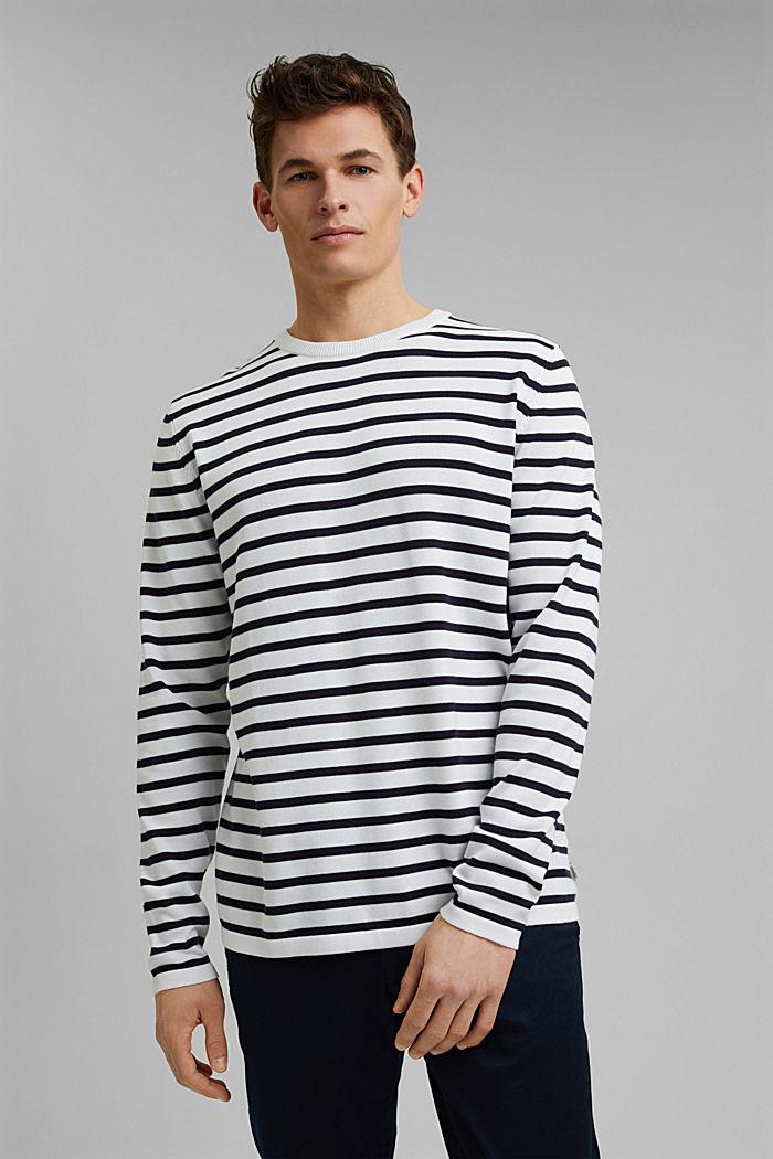 Gestreifter Pullover aus 100% Bio-Baumwolle, WHITE, detail image number 0