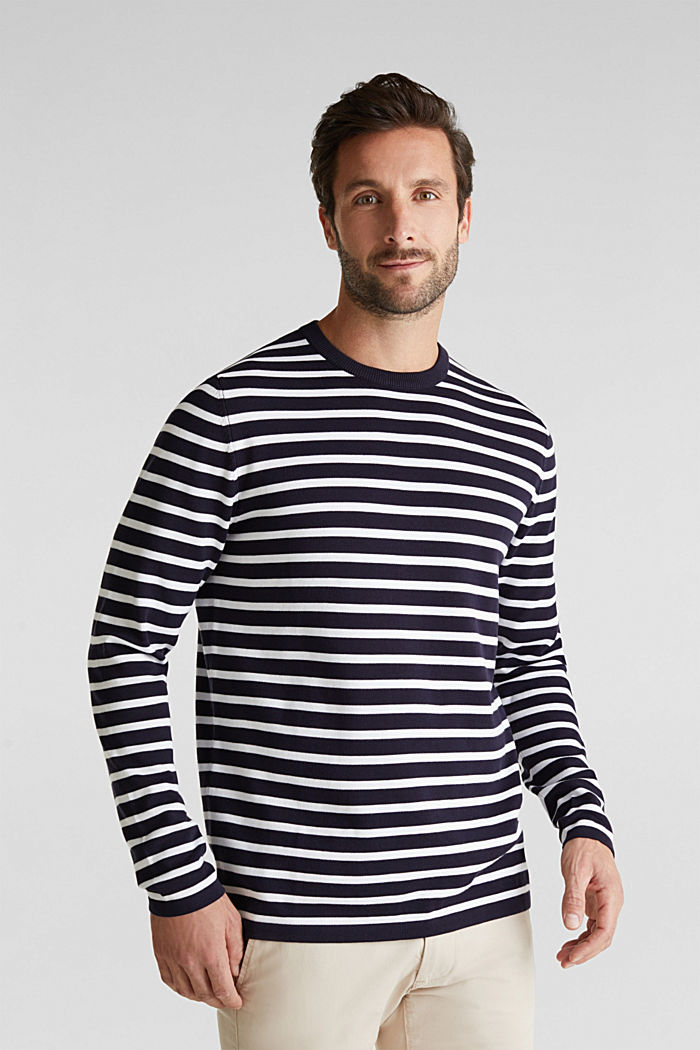 Striped jumper made of 100% organic cotton, NAVY, detail image number 0