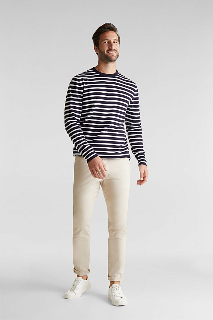 Striped jumper made of 100% organic cotton, NAVY, detail image number 1