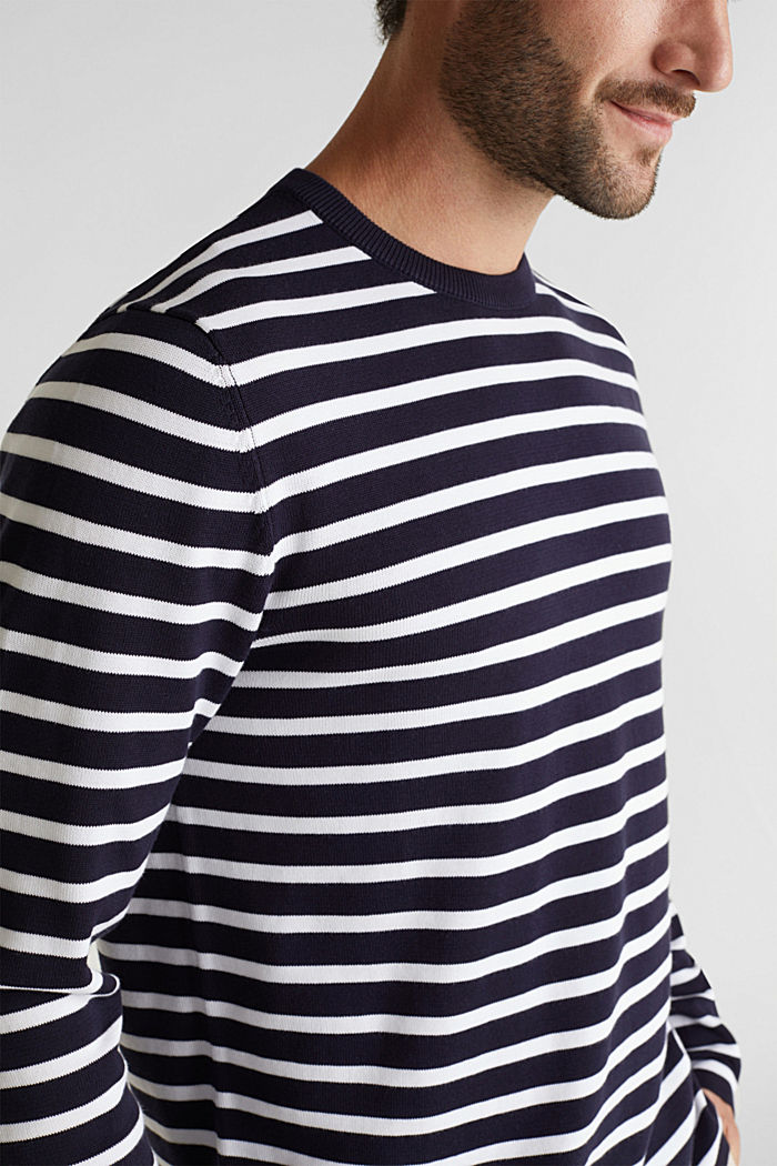 Striped jumper made of 100% organic cotton, NAVY, detail image number 2