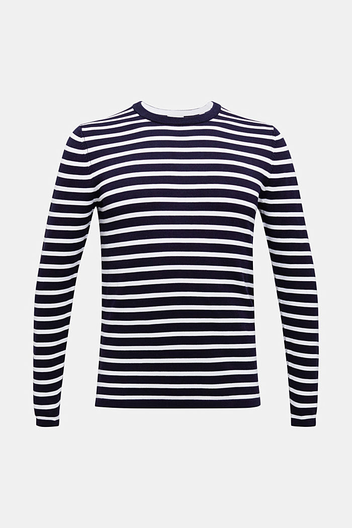 Striped jumper made of 100% organic cotton, NAVY, detail image number 6