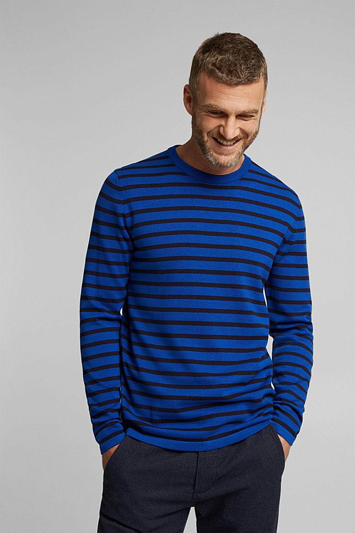 Gestreifter Pullover aus 100% Bio-Baumwolle, BRIGHT BLUE, detail image number 0