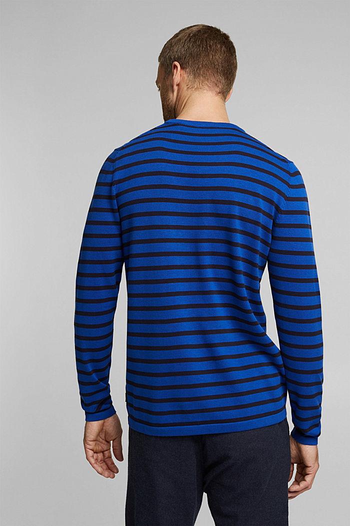 Gestreifter Pullover aus 100% Bio-Baumwolle, BRIGHT BLUE, detail image number 3
