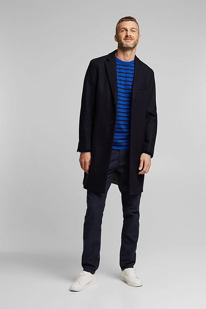 Gestreifter Pullover aus 100% Bio-Baumwolle, BRIGHT BLUE, detail image number 1