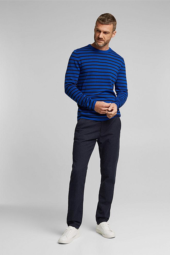 Gestreifter Pullover aus 100% Bio-Baumwolle, BRIGHT BLUE, detail image number 5
