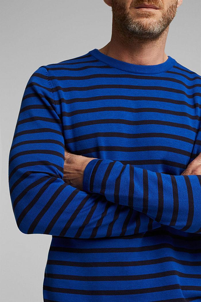 Gestreifter Pullover aus 100% Bio-Baumwolle, BRIGHT BLUE, detail image number 2