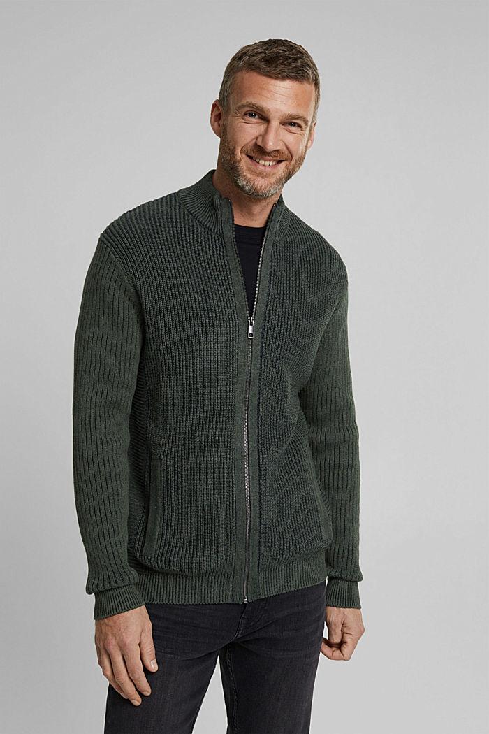 Knit cardigan made of 100% organic cotton, LIGHT KHAKI, detail image number 0