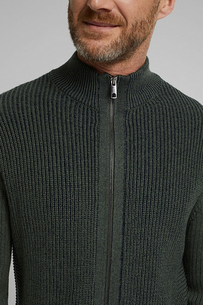 Knit cardigan made of 100% organic cotton, LIGHT KHAKI, detail image number 2