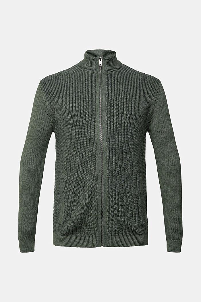 Strick-Cardigan aus 100% Organic Cotton, LIGHT KHAKI, detail image number 7