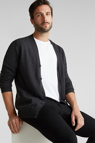 With cashmere: V-neck cardigan