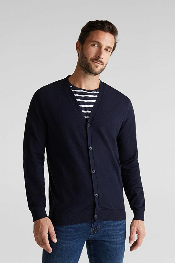 With cashmere: V-neck cardigan, NAVY, detail image number 0