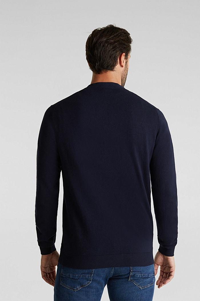 With cashmere: V-neck cardigan, NAVY, detail image number 3