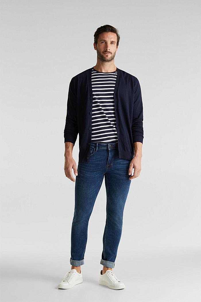 With cashmere: V-neck cardigan, NAVY, detail image number 1