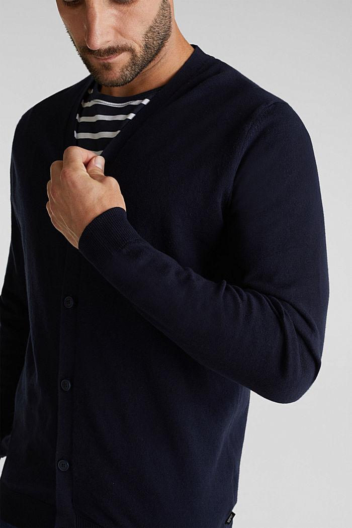 With cashmere: V-neck cardigan, NAVY, detail image number 2