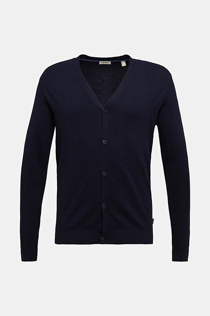 With cashmere: V-neck cardigan, NAVY, detail image number 5