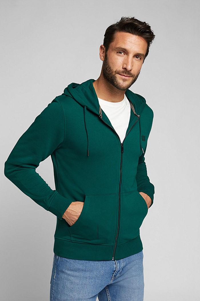 Sweatshirt cardigan with organic cotton, BOTTLE GREEN, detail image number 0