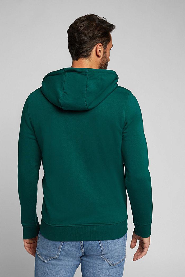 Sweatshirt cardigan with organic cotton, BOTTLE GREEN, detail image number 3