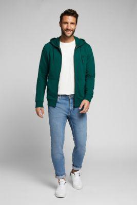 Sweatshirt cardigan with organic cotton, BOTTLE GREEN, detail