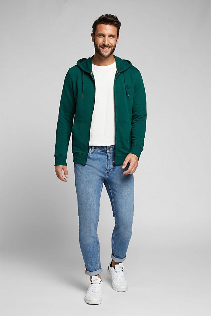 Sweatshirt cardigan with organic cotton, BOTTLE GREEN, detail image number 1