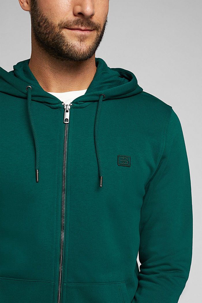 Sweatshirt cardigan with organic cotton, BOTTLE GREEN, detail image number 2