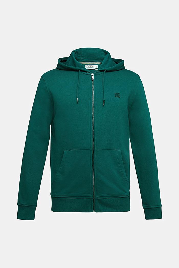 Sweatshirt cardigan with organic cotton, BOTTLE GREEN, detail image number 5
